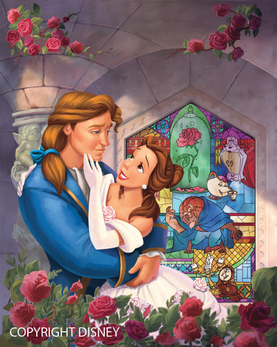 Princess Belle wallpaper probably with a stained glass window and anime entitled Belle and Adam