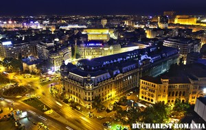 Bucharest at night Romania (University Square, Piata Universitatii)
