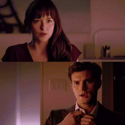 Fifty Shades Trilogy karatasi la kupamba ukuta containing a business suit, a well dressed person, and a suit titled Christian and Anastasia