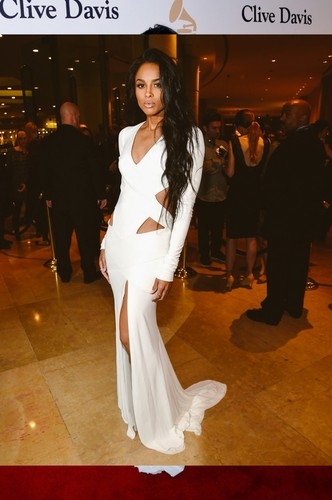 Ciara wallpaper probably containing a business suit, a well dressed person, and a bridesmaid titled Ciara at the Pre-Grammy gala