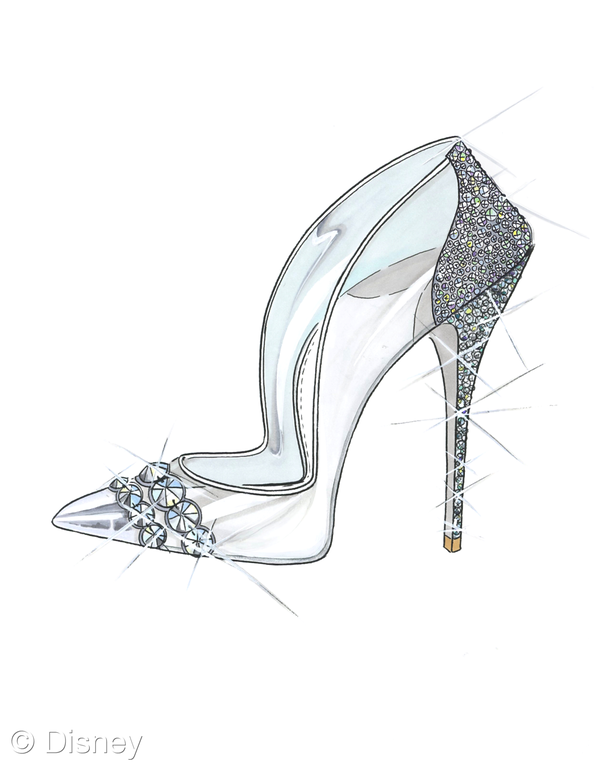 Cinderellas glass slipper drawing