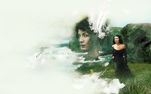 Outlander 2014 TV Series پیپر وال containing a hot tub titled Claire Randall