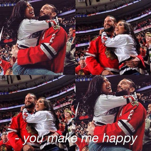 Cm Punk and Aj Lee being happy
