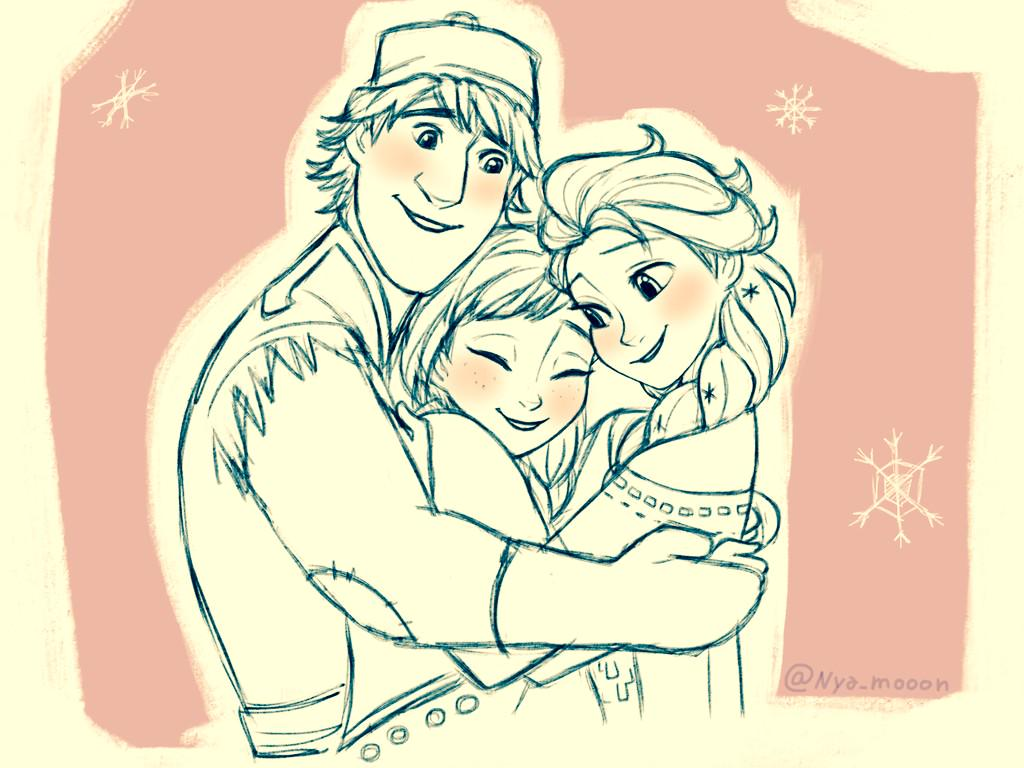 how to draw kristoff and anna
