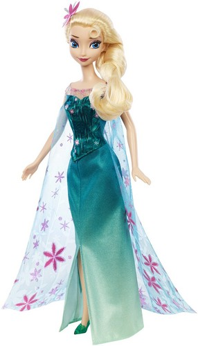 Frozen Fever Hintergrund probably containing a abendessen dress, a gown, and a cocktail dress entitled Elsa Frozen Fever Mattel Doll