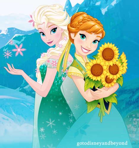 Frozen Fever Hintergrund containing Anime entitled Elsa and Anna