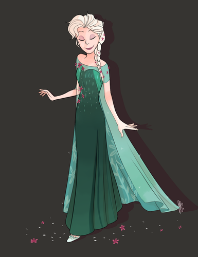 Frozen Fever Hintergrund probably containing a abendessen dress and a kleid titled Elsa