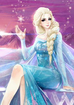 Elsa on her ice dress