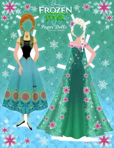 Frozen Fever Hintergrund entitled Frozen Fever Anna and Elsa Paper Puppen
