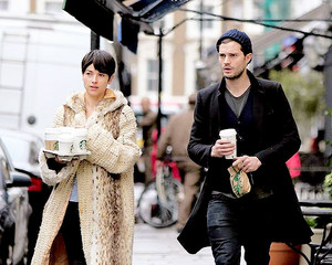 Jamie Dornan and Amelia Warner Dornan in London (02/25/15)