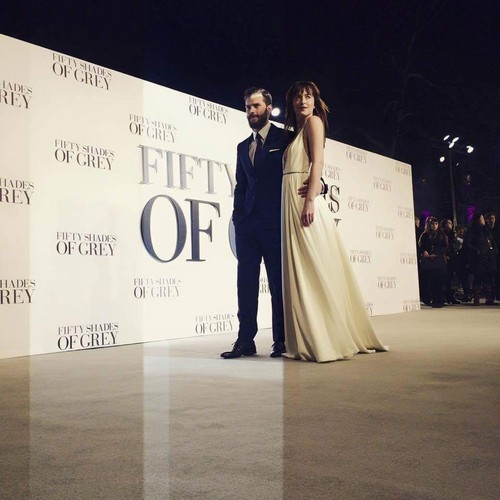 Fifty Shades-Trilogie Hintergrund probably containing a bridesmaid and a abendessen dress called Jamie and Dakota