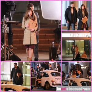 Jamie and Dakota filming FSOG