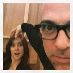 Jessica Stroup and Producer/Director Marcos Siega on set of The Following Season 3
