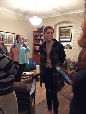 Jessica Stroup on set of The Following Season 3