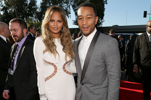 John Legend fond d'écran containing a business suit and a suit titled John Legend and Chrissy Teigen 2015 Grammy Awards