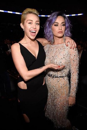 Katy and Miley 2015 Grammys