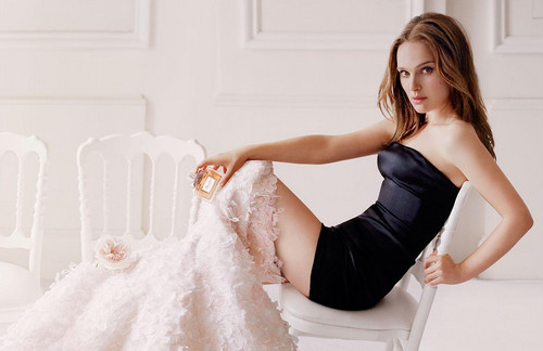 Natalie Portman wallpaper containing a gown, a dinner dress, and a strapless entitled Miss Dior (2015] - Photoshoot