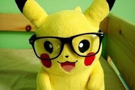 Nerdy Pikachu wearing glasses in my room