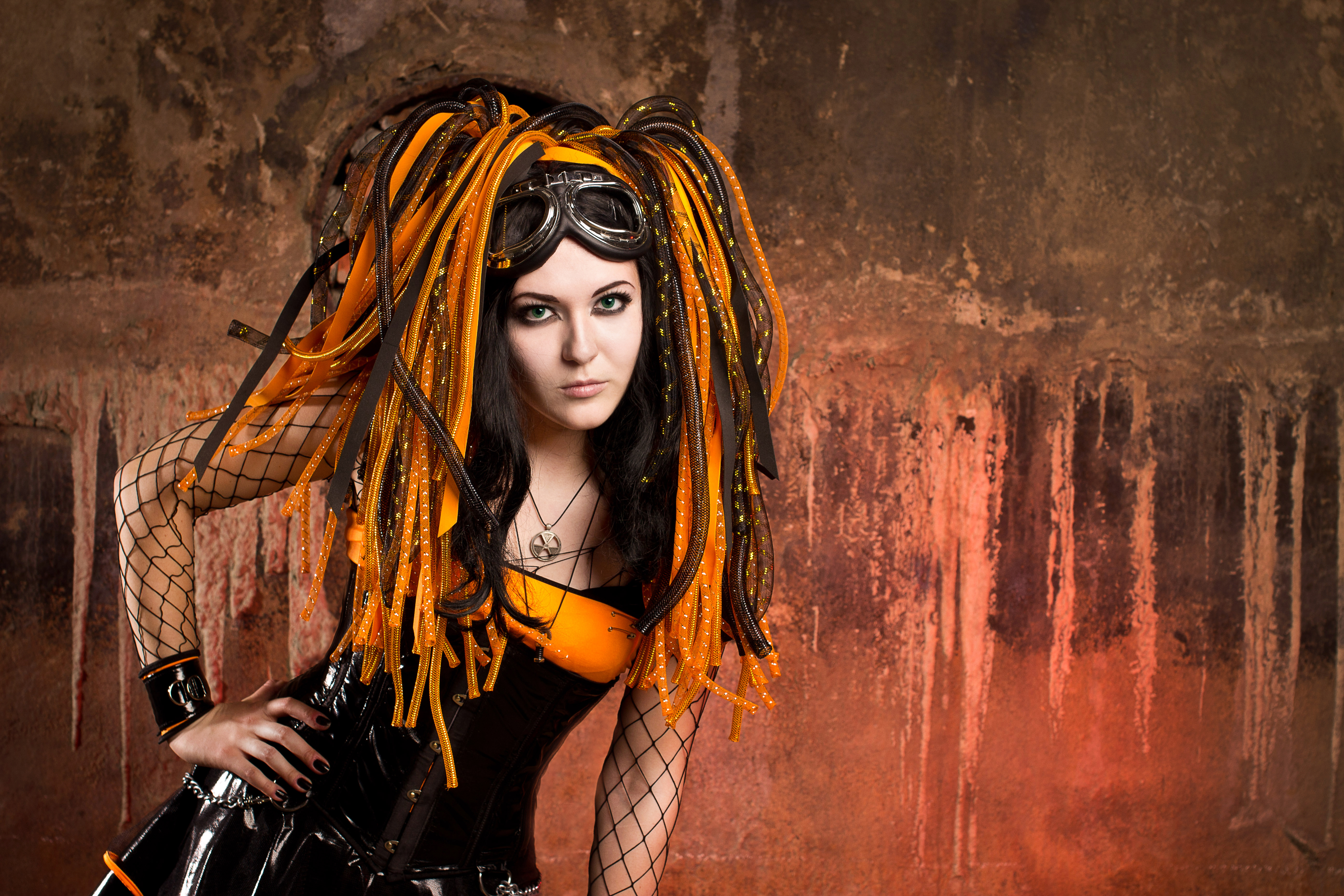 Many styles images orange cybergoth hd wallpaper and background photos