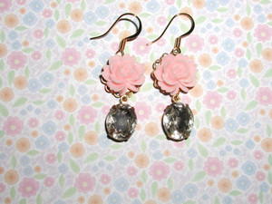 rosado, rosa flor Earrings