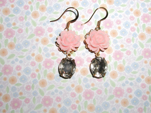 Pink (Color) wallpaper titled Pink Flower Earrings
