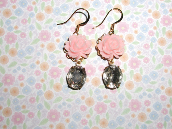 berwarna merah muda, merah muda bunga Earrings