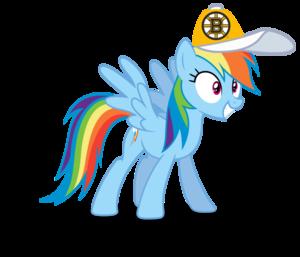 Rainbow Dash wearing a Boston Bruins cap