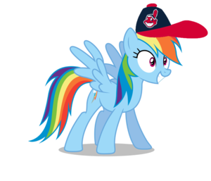 Rainbow Dash wearing a Cleveland Indians cap