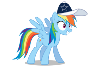 arco iris Dash wearing a Dallas Cowboys gorra, cap