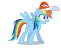 Rainbow Dash wearing a Denver Broncos cap
