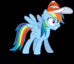 Rainbow Dash wearing a Denver Broncos cap