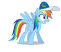 Rainbow Dash wearing a Golden State Warriors cap