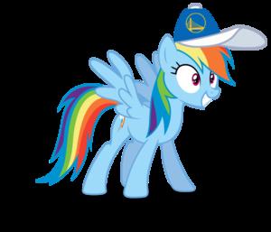Rainbow Dash wearing a Golden State Warriors cap