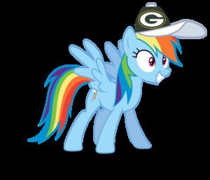 Rainbow Dash wearing a Green Bay Packers cap