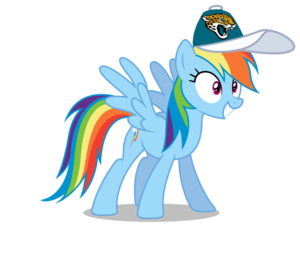 Rainbow Dash wearing a Jacksonville Jaguars cap