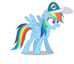 Rainbow Dash wearing a Miami Dolphins cap