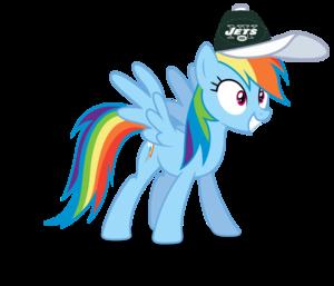 Rainbow Dash wearing a New York Jets cap