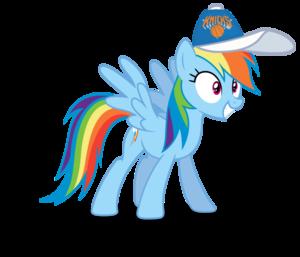 Rainbow Dash wearing a New York Knicks cap
