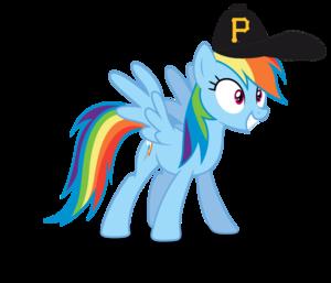 इंद्रधनुष Dash wearing a Pittsburgh Pirates टोपी