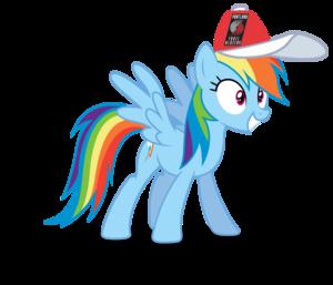 arco iris Dash wearing a Portland Trail Blazers gorra, cap