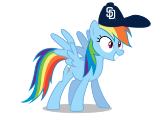 Rainbow Dash wearing a San Diego Padres cap
