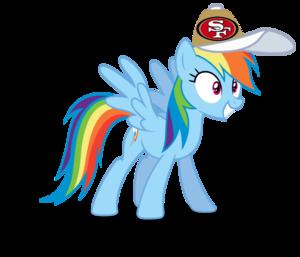 इंद्रधनुष Dash wearing a San Franscisco 49ers टोपी