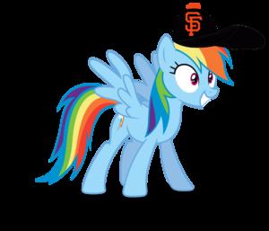 arco iris Dash wearing a San Franscisco Giants gorra, cap