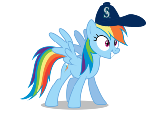 इंद्रधनुष Dash wearing a Seattle Mariners टोपी