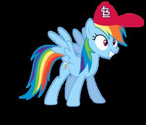Rainbow Dash wearing a St. Louis Cardinals cap
