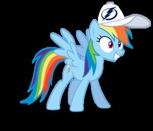 इंद्रधनुष Dash wearing a Tampa खाड़ी, बे Lightning टोपी