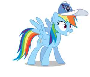 Rainbow Dash wearing a Tennessee Titans cap
