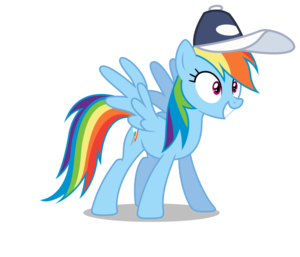 虹 Dash wearing a キャップ