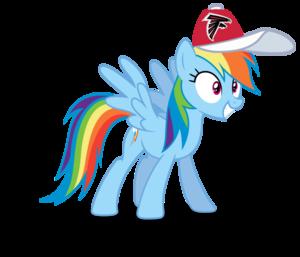 Rainbow Dash wearing an Atlanta Falcons cap