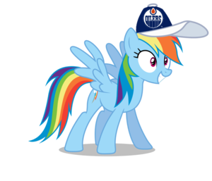 cầu vồng Dash wearing an Edmonton Oilers mũ lưỡi trai, cap